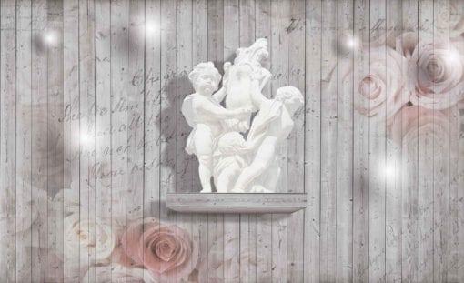 Fototapet med motivet: Plankor Rosor Skulptur Änglar