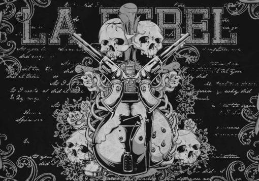Fototapet med motivet: Rock Guitar Skalle Pistoler