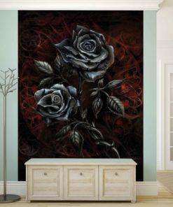 Fototapet med motivet: Ros Silver Mörk Gothic