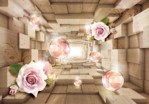 Fototapet med motivet: Rosa rosor och röda kulor