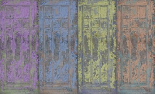 Fototapet med motivet: Rustika målat trä Dörrar