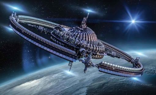 Fototapet med motivet: Rymdstationen Science Fiction