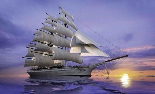 Fototapet med motivet: Segling Skepp Solnedgång