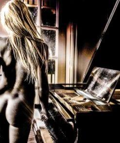 Fototapet med motivet: Sexig kvinna Naken Piano