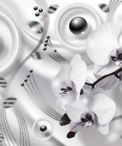 Fototapet med motivet: Silvergrå Blommor Modern abstrakt