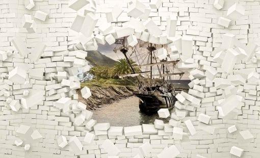 Fototapet med motivet: Skepp Tegelsten