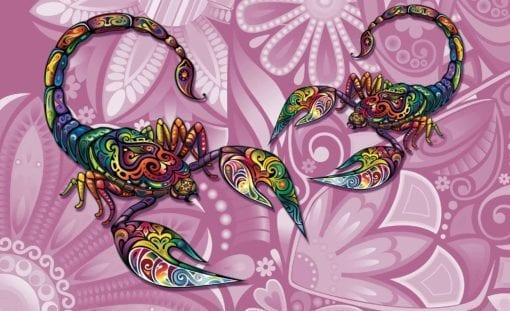Fototapet med motivet: Skorpioner Blommor Abstrakt Färger