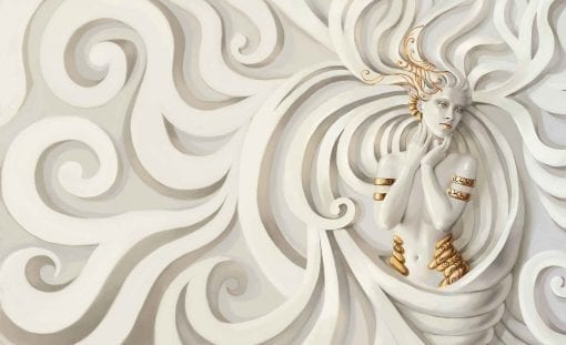 Fototapet med motivet: Skulptur Yoga kvinna Virvel Greek