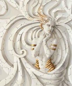 Fototapet med motivet: Skulptur yoga Kvinna virvlar Medussa