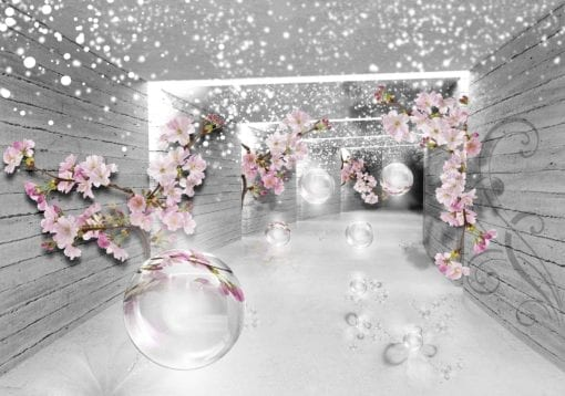 Fototapet med motivet: Snö Blommor och Silver Sfär