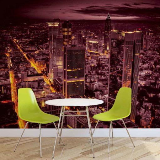Fototapet med motivet: Stad Frankfurt Skyline Kväll Ljus