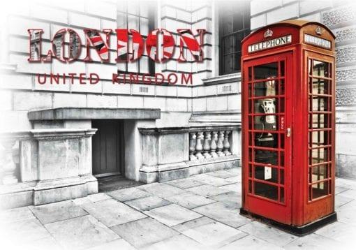 Fototapet med motivet: Stad London Telefonkiosk Röd