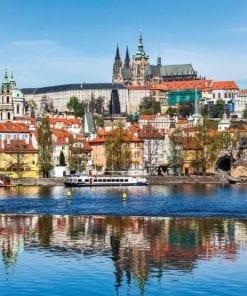 Fototapet med motivet: Stad Prag Bro Katedral Flod Sepia