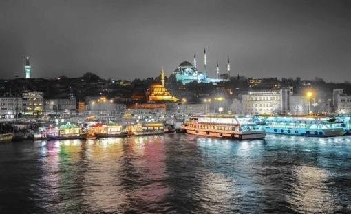 Fototapet med motivet: Stad Turkiet Bosphorus Kväll