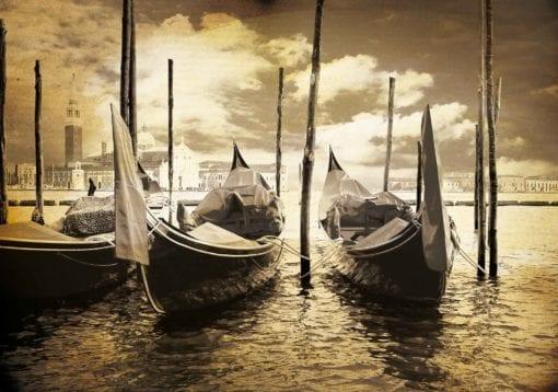 Fototapet med motivet: Stad Venice Gondoler Båts Sepia