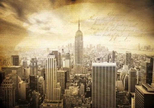 Fototapet med motivet: Staden New York Vintage Sepia
