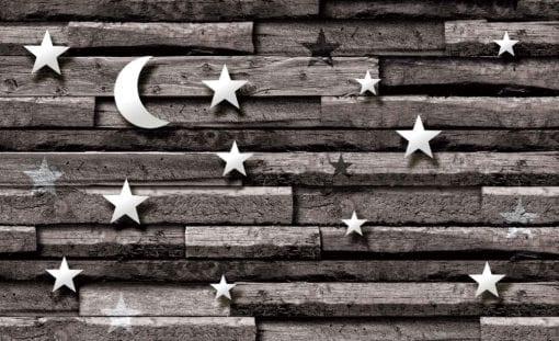 Fototapet med motivet: Stjärnor Måne trä plankor sovrum
