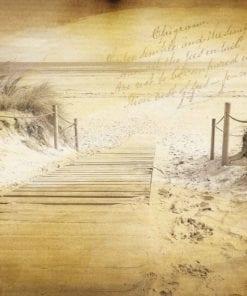 Fototapet med motivet: Strandpromenad Sepia Vintage