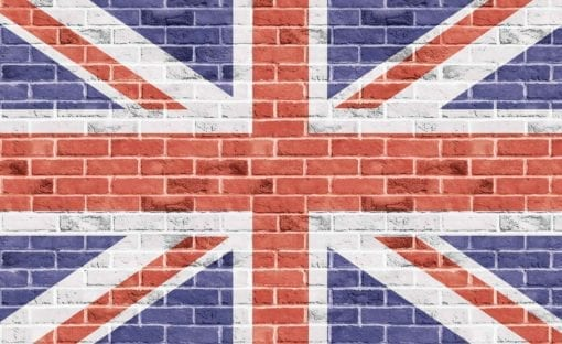 Fototapet med motivet: Tegelsten Vägg Union Jack