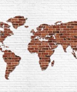 Fototapet med motivet: Tegelsten Vägg World Karta