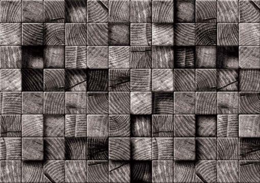 Fototapet med motivet: Träblock Textur Svart Vit
