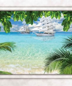 Fototapet med motivet: Tropisk Strand Fönster Utsikt
