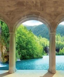 Fototapet med motivet: Tropiska vattenfall genom valv