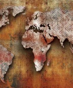 Fototapet med motivet: Världskarta på Trä