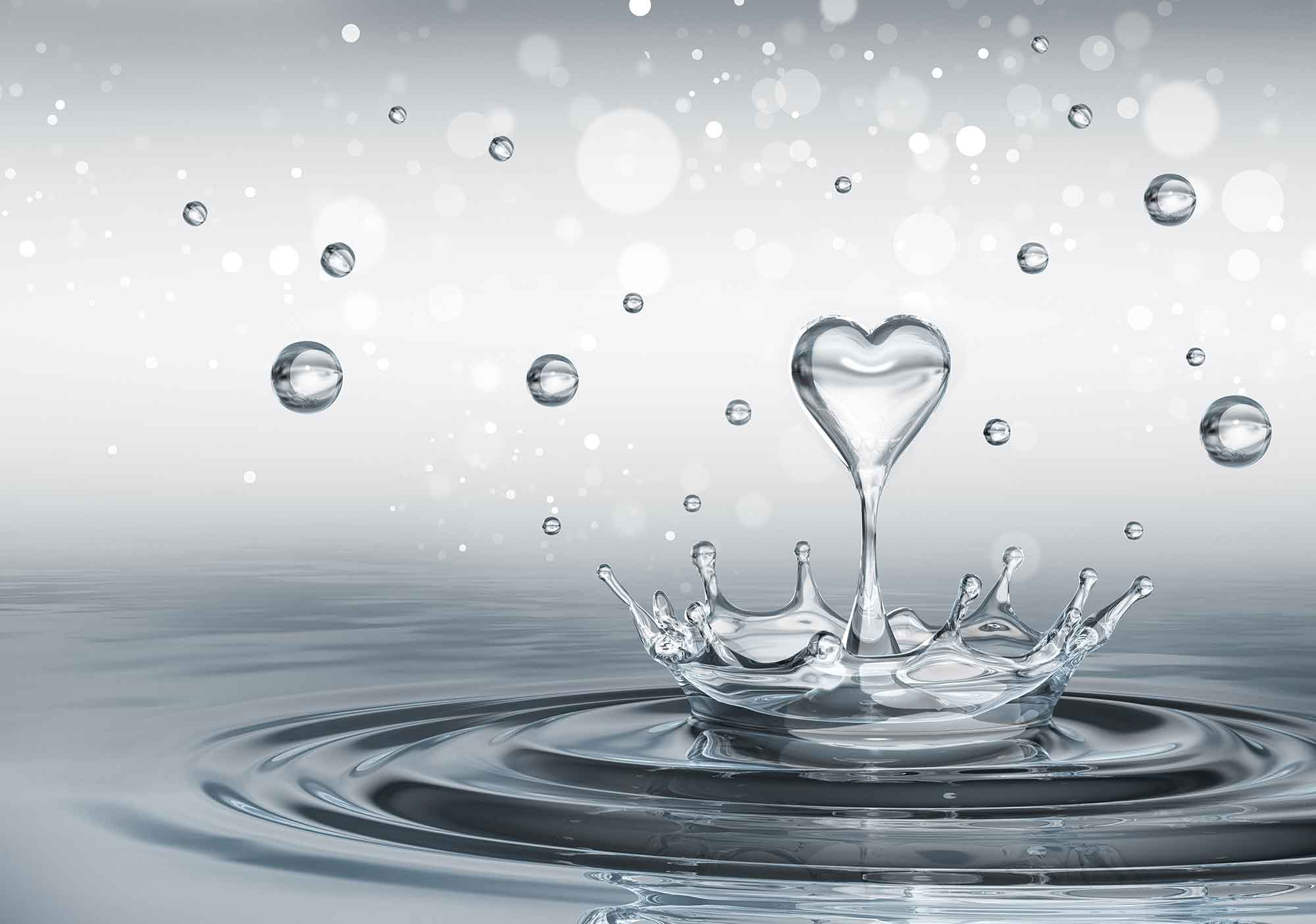Vattendroppar Hjärta (3493WM) | FototapetOnline.se
