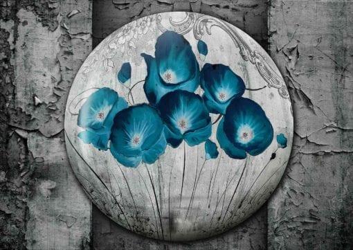 Fototapet med motivet: Vintage Blommor Bå Grå