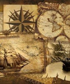 Fototapet med motivet: Vintage Skepps kartor
