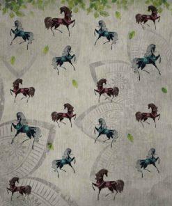 Fototapet med motivet: Vintage hästar Blommor Print Mönster