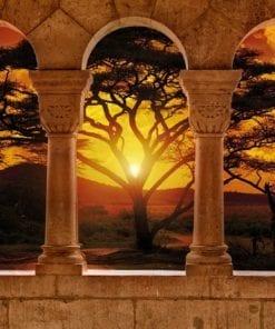 Fototapet med motivet: Visa Afrika Solnedgång Träd