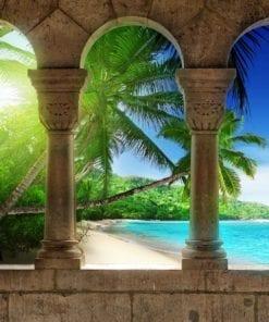 Fototapet med motivet: Visa Paradis Strand Palmer
