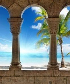 Fototapet med motivet: Visa Paradis Tropisk Strand Palmer
