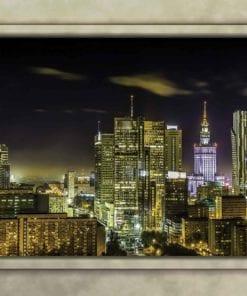 Fototapet med motivet: Warszawa Skyline Fönster Utsikt