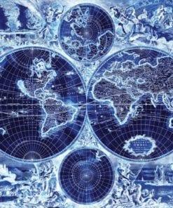 Fototapet med motivet: World Karta Vintage Blå