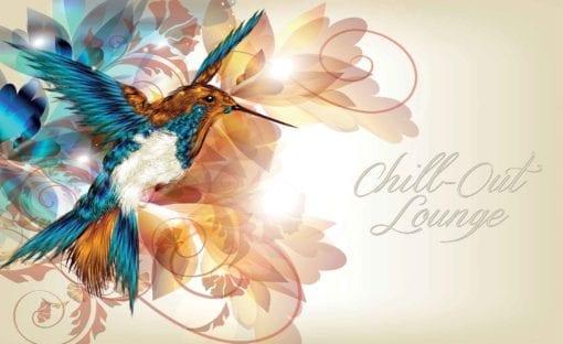Fototapet med motivet: kolibri Blommor Abstrakt