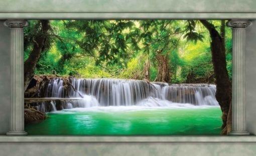Fototapet med motivet: vattenfall Skog